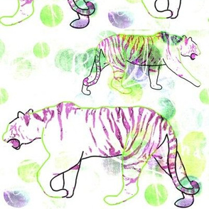 Stalking Tiger - White Purple Green