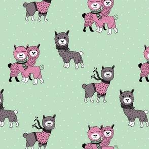 Llama winter wonderland sweater weather illustration sweet mint kids design