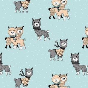 Llama winter wonderland sweater weather illustration sweet blue kids design