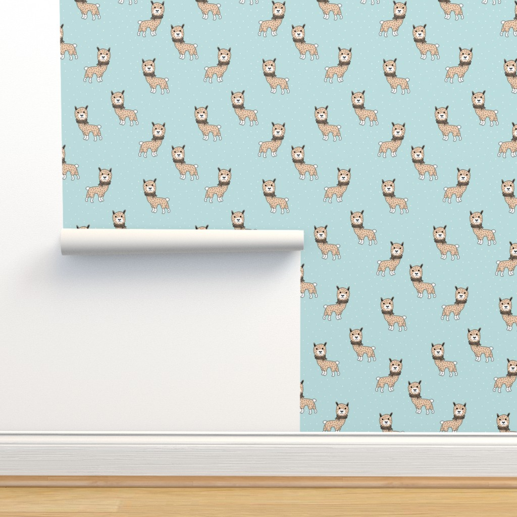 Isobar Durable Wallpaper featuring Llama winter wonderland sweater weather illustration sweet blue kids design by littlesmilemakers