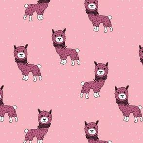 Llama winter wonderland sweater weather illustration sweet pink kids design