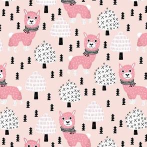 Llama winter wonderland sweater weather christmas trees illustration sweet pink kids design