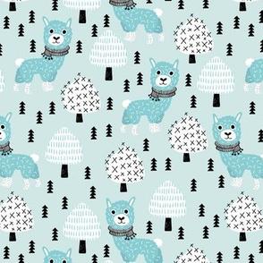 Llama winter wonderland sweater weather christmas trees illustration sweet blue kids design