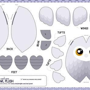 Cut & Sew White Owl Plush