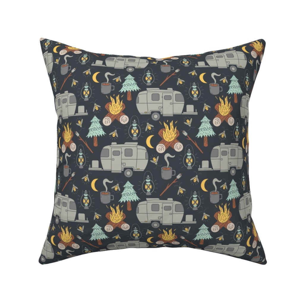 Catalan Throw Pillow featuring Retro RV Camping by tamara_lance