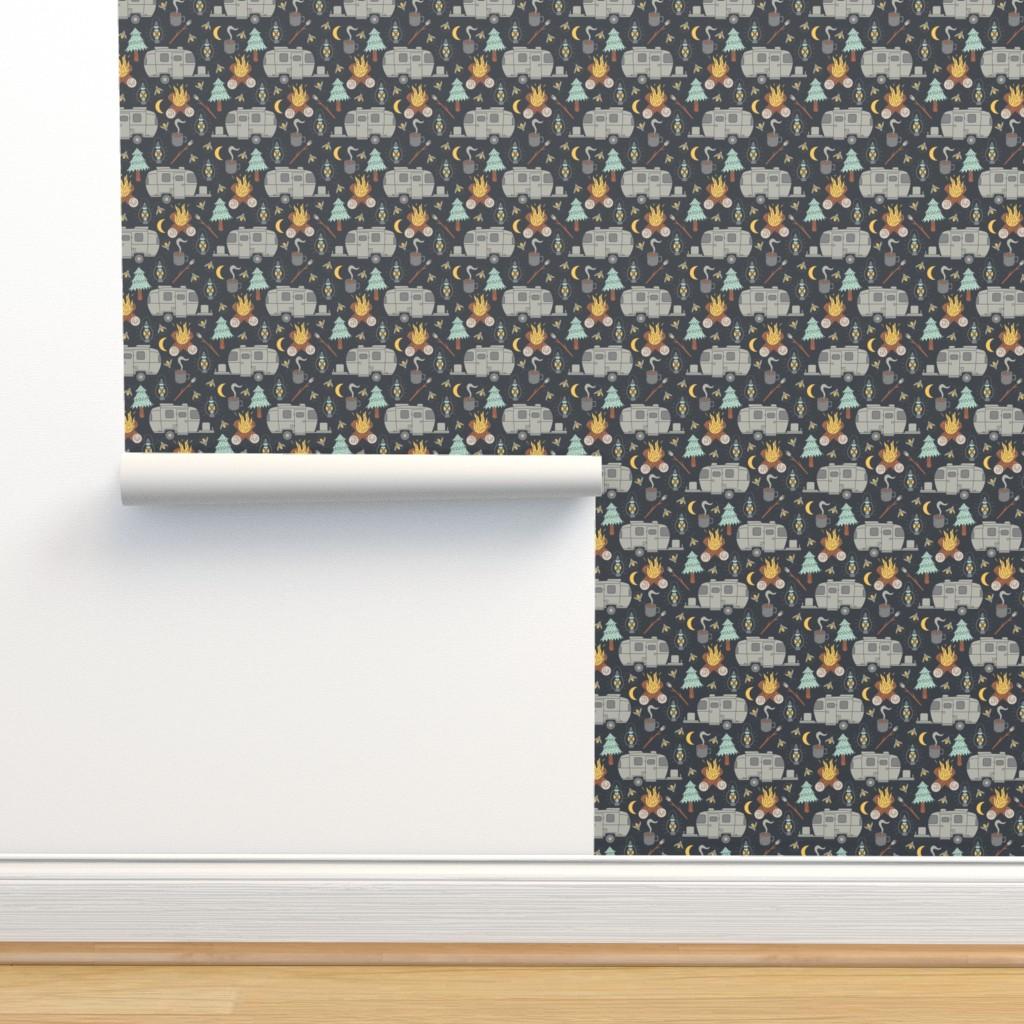 Isobar Durable Wallpaper featuring Retro RV Camping by tamara_lance