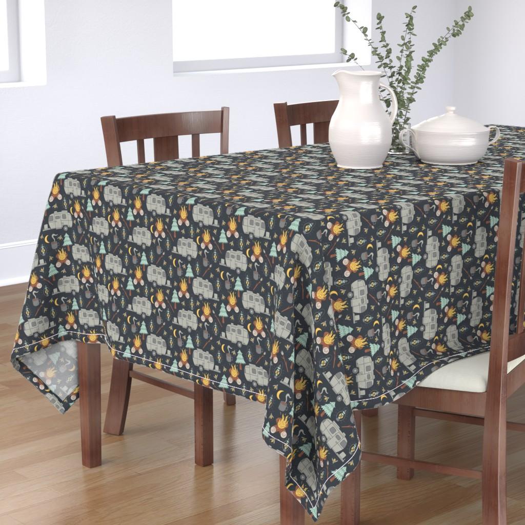 Bantam Rectangular Tablecloth featuring Retro RV Camping by tamara_lance