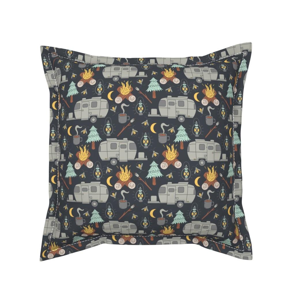 Serama Throw Pillow featuring Retro RV Camping by tamara_lance