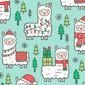 Holidays Christmas llamas on Mint Green