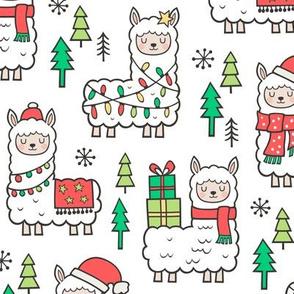 Holidays Christmas llamas on White