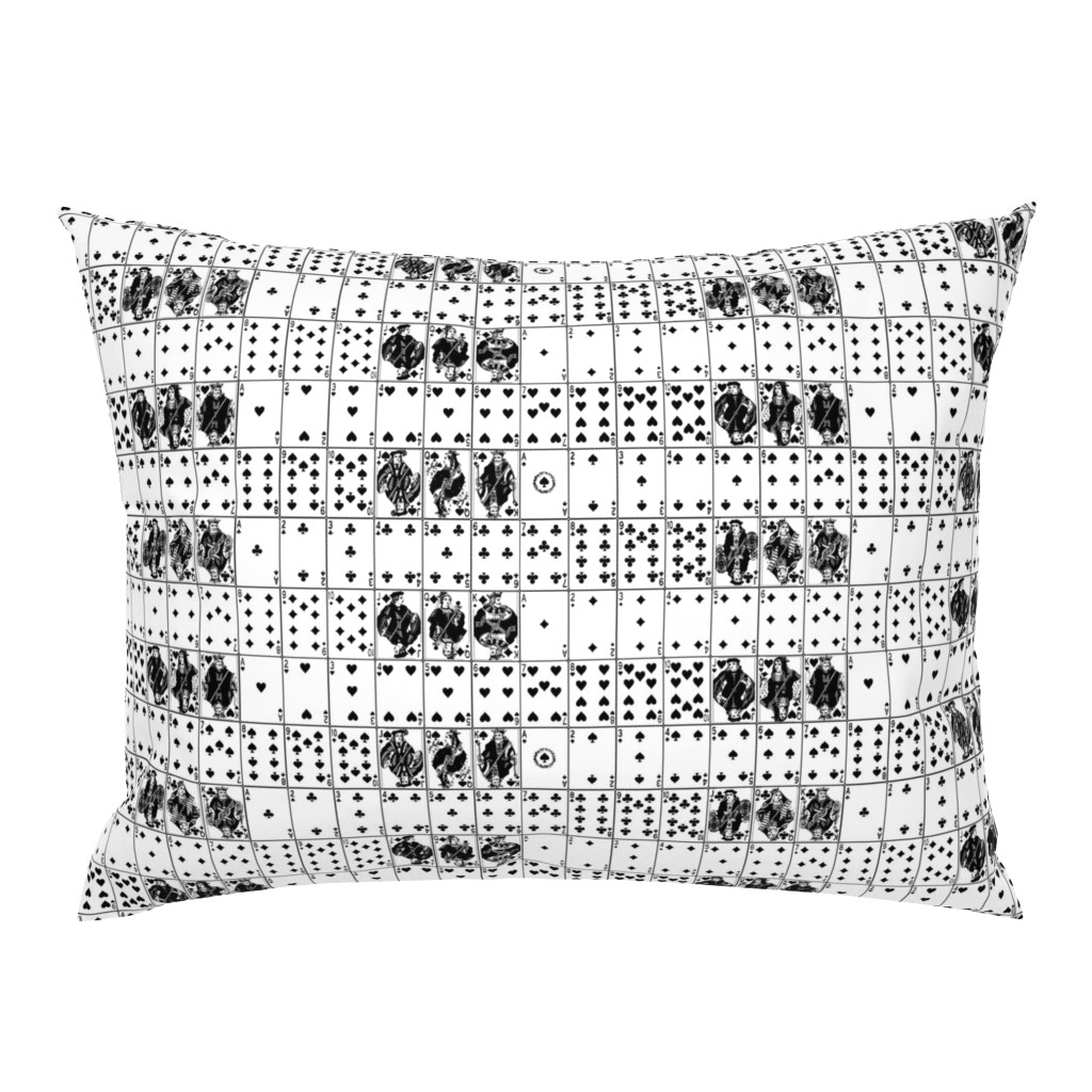 Campine Pillow Sham featuring Playing Cards // Black & White by thinlinetextiles