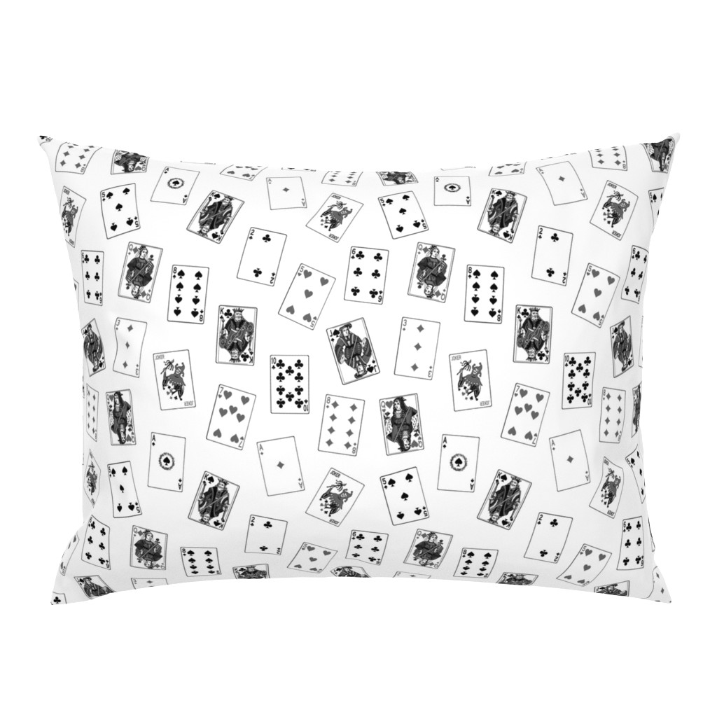 Campine Pillow Sham featuring Scattered Playing Cards // Greyscale by thinlinetextiles