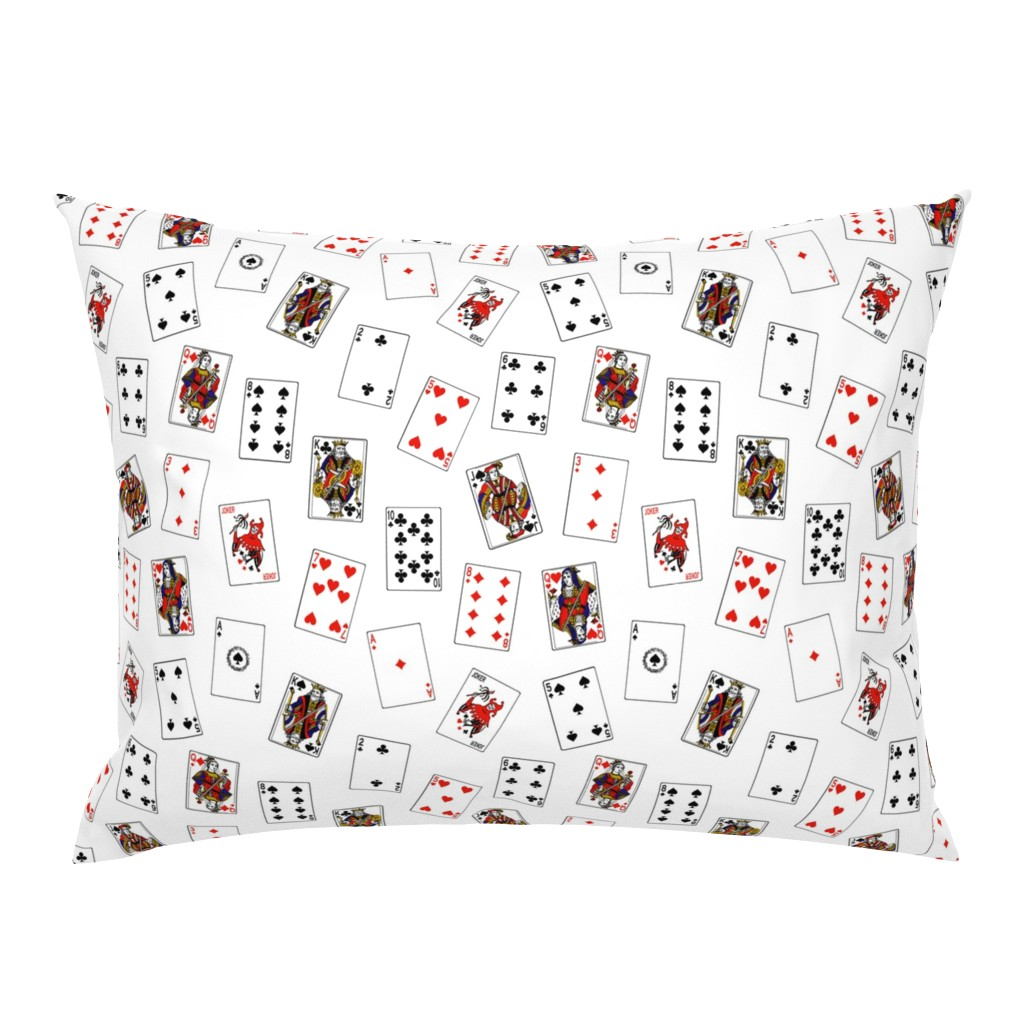 Campine Pillow Sham featuring Scattered Playing Cards by thinlinetextiles