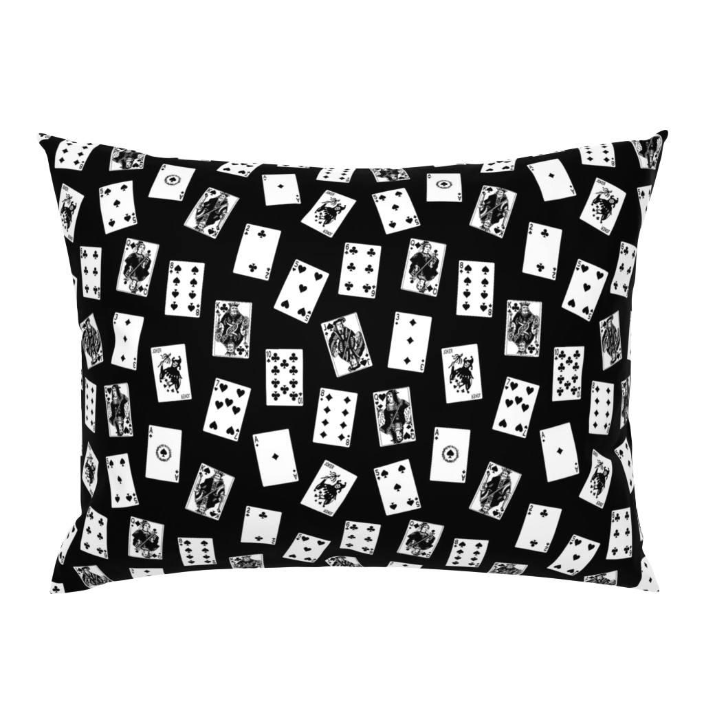 Campine Pillow Sham featuring Scattered Playing Cards // Black & White by thinlinetextiles