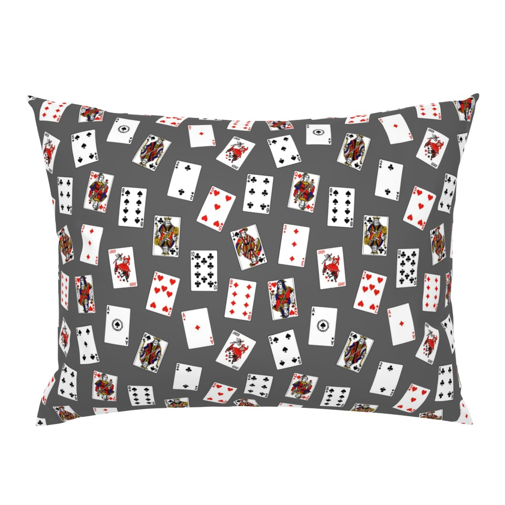 Campine Pillow Sham featuring Playing Cards on Grey by thinlinetextiles