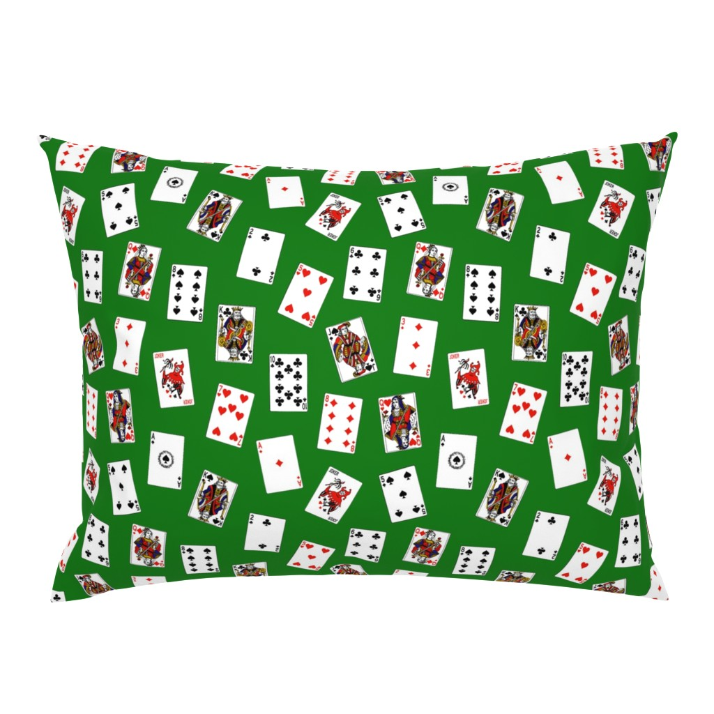 Campine Pillow Sham featuring Playing Cards // Green by thinlinetextiles