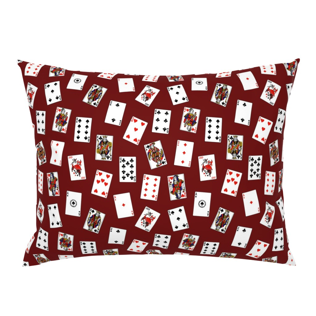 Campine Pillow Sham featuring Scattered Playing Cards // Burgundy by thinlinetextiles