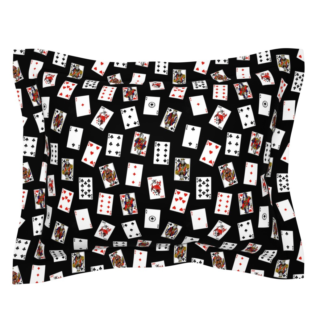 Sebright Pillow Sham featuring Scattered Playing Cards // Black by thinlinetextiles