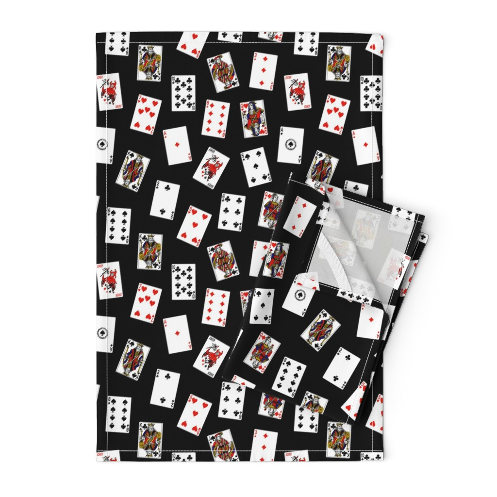 Orpington Tea Towels featuring Scattered Playing Cards // Black by thinlinetextiles