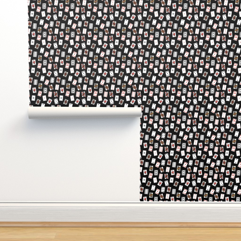 Isobar Durable Wallpaper featuring Scattered Playing Cards // Black by thinlinetextiles
