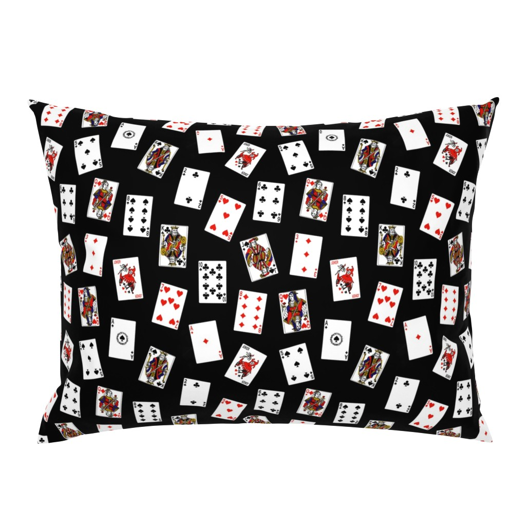 Campine Pillow Sham featuring Scattered Playing Cards // Black by thinlinetextiles