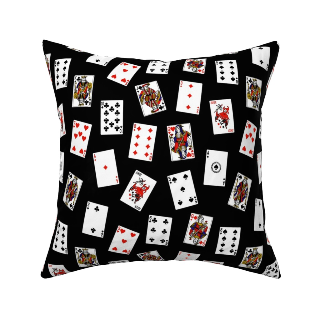 Catalan Throw Pillow featuring Scattered Playing Cards // Black by thinlinetextiles