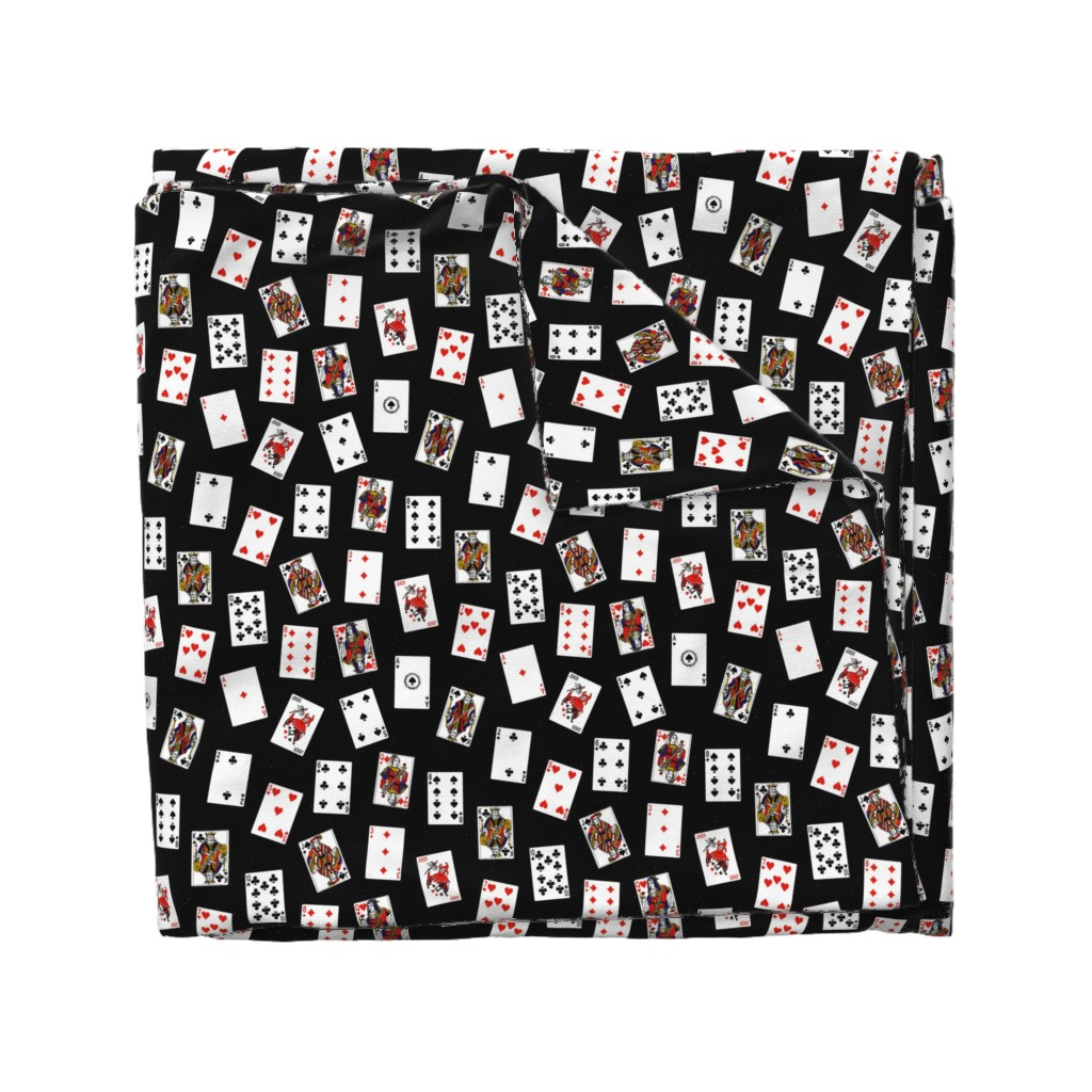 Wyandotte Duvet Cover featuring Scattered Playing Cards // Black by thinlinetextiles