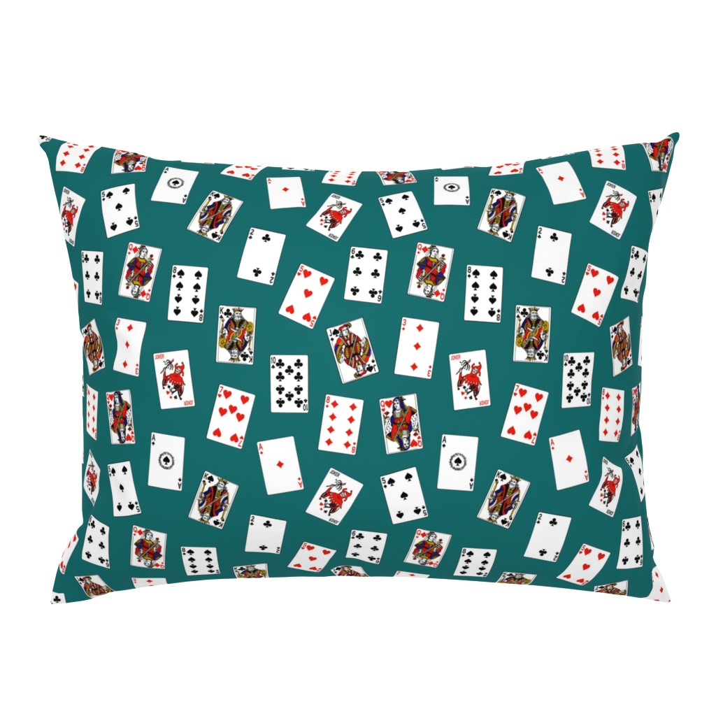Campine Pillow Sham featuring Scattered Playing Cards // Aqua by thinlinetextiles