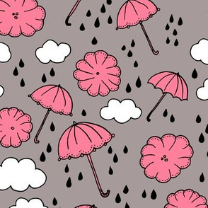 Rainy day head in the clouds umbrella love  illustration pink pattern design