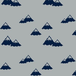 Mountains - navy on grey (northern lights)