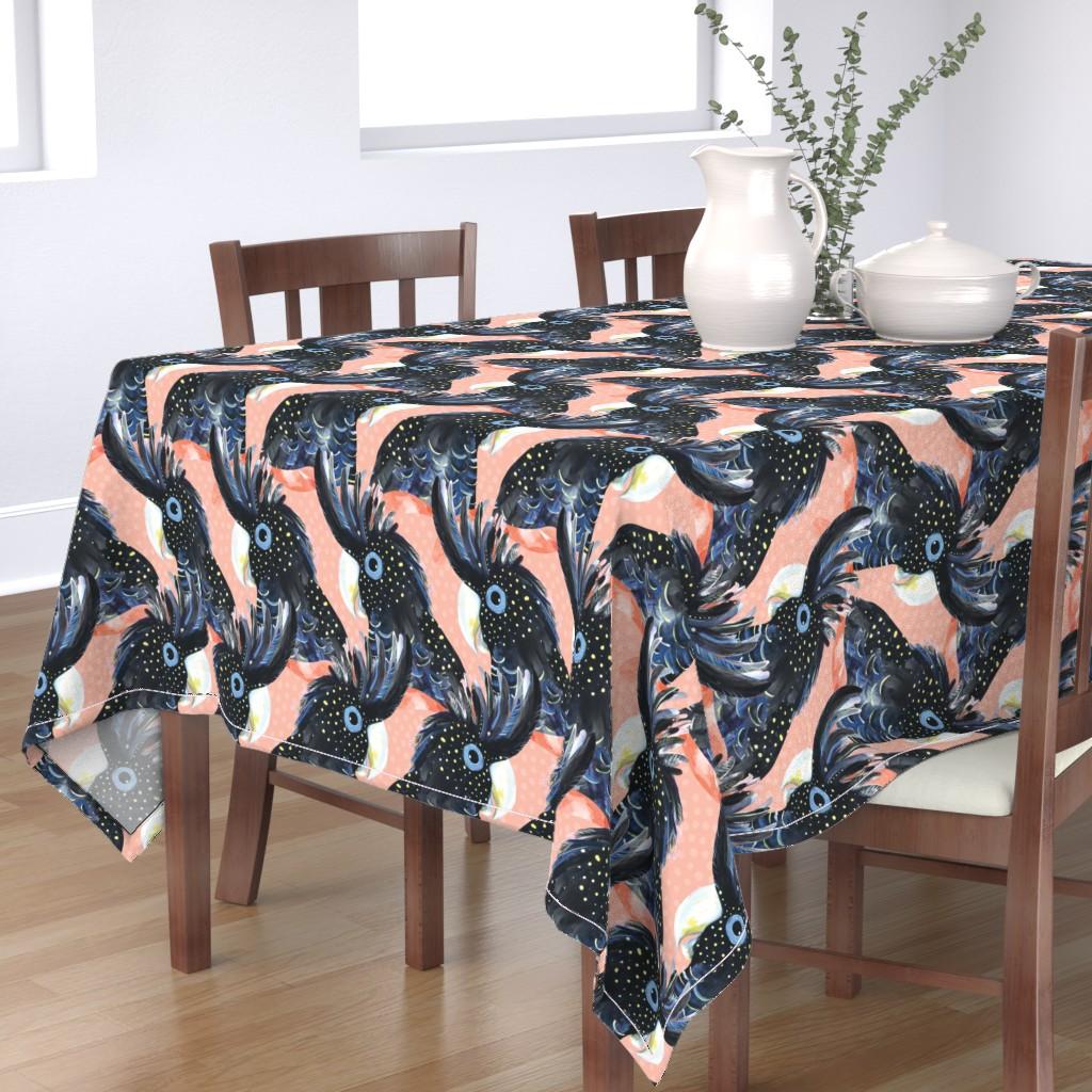 Bantam Rectangular Tablecloth featuring Black Cockatoo / Australian bird galah parrot spots handpainted black pink by mountvicandme