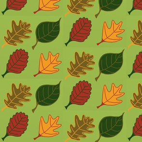 Graphic Leaves Green