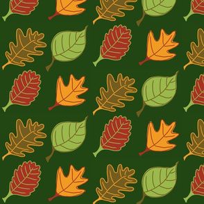 Graphic Leaves Deep Green