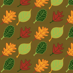 Graphic Leaves Brown