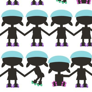 roller derby paper doll chain