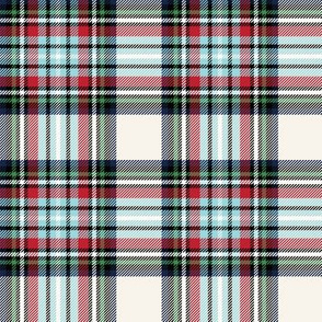 christmas knit tartan blue on off-white