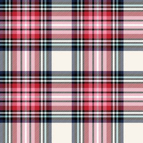 christmas knit tartan pink on off-white