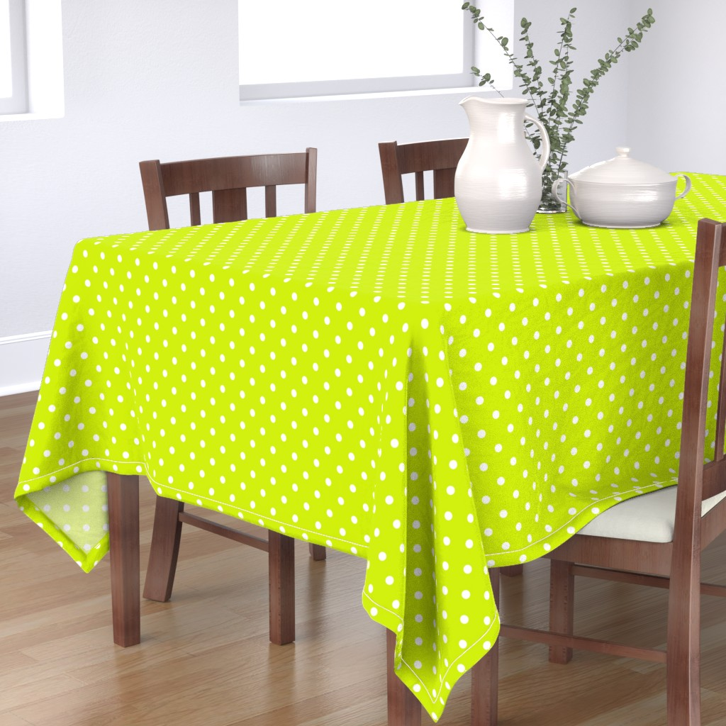 Bantam Rectangular Tablecloth featuring White Polkadots on Lime Punch  by paper_and_frill