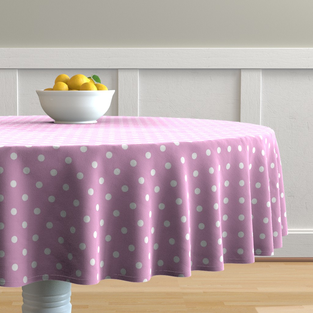 Malay Round Tablecloth featuring Bright White Polkadots on Pink Lavender by paper_and_frill