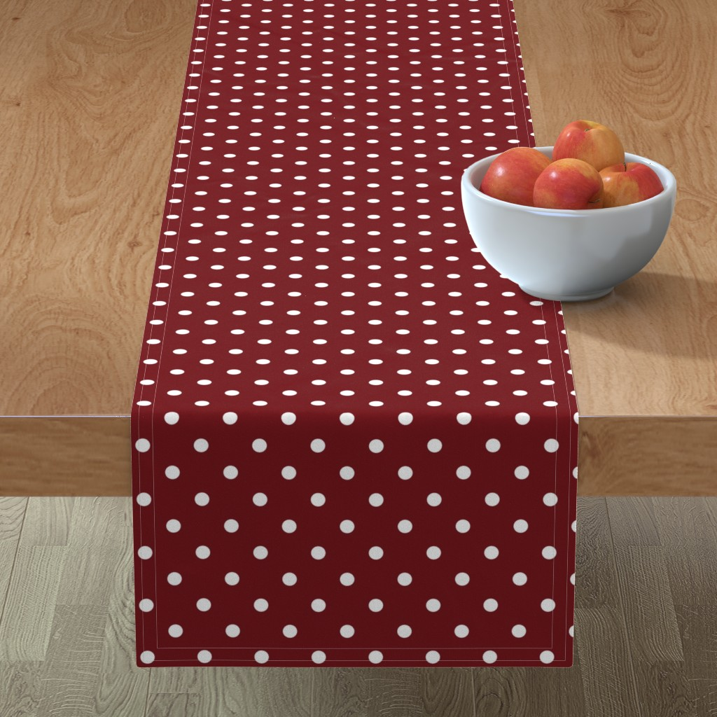 Minorca Table Runner featuring Spiced Apple Polkadots on White by paper_and_frill