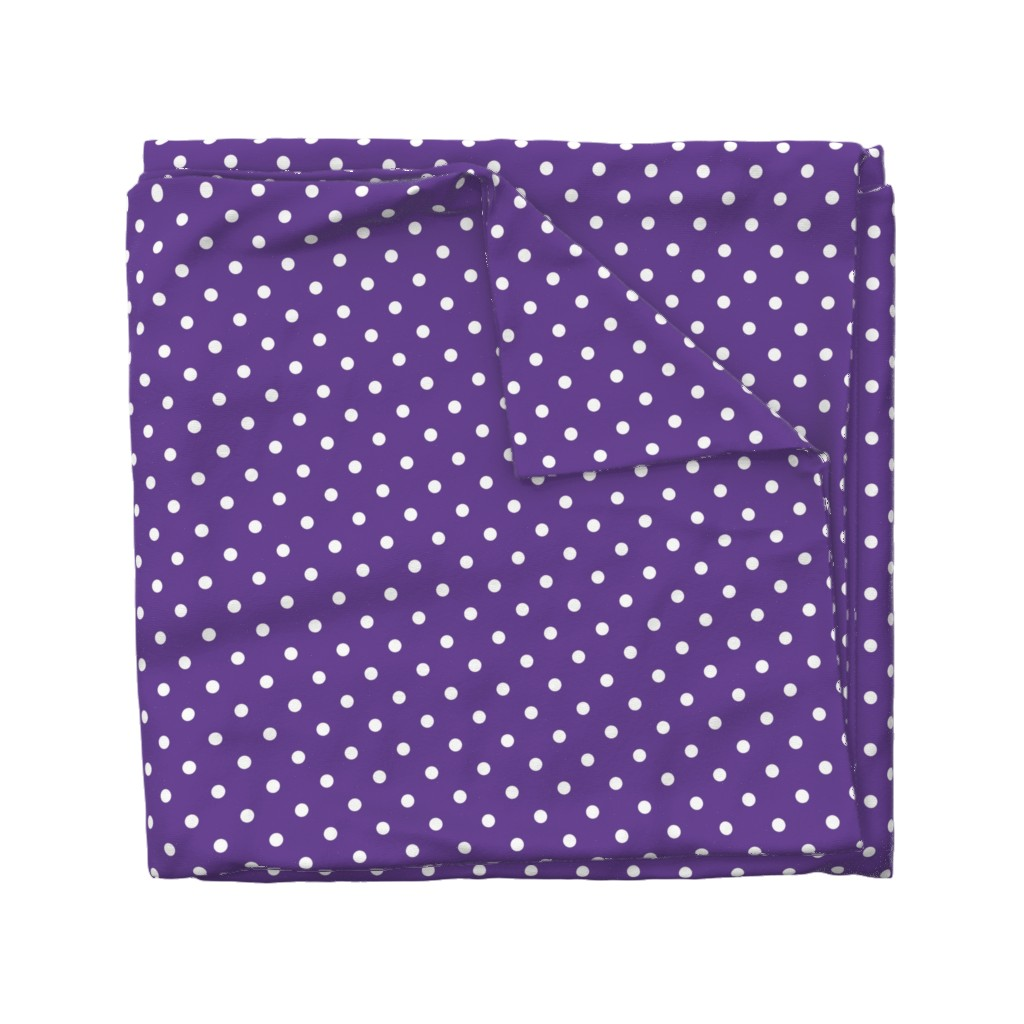 Wyandotte Duvet Cover featuring White Polkadots on Ultra Violet Purple Polkadots  by paper_and_frill