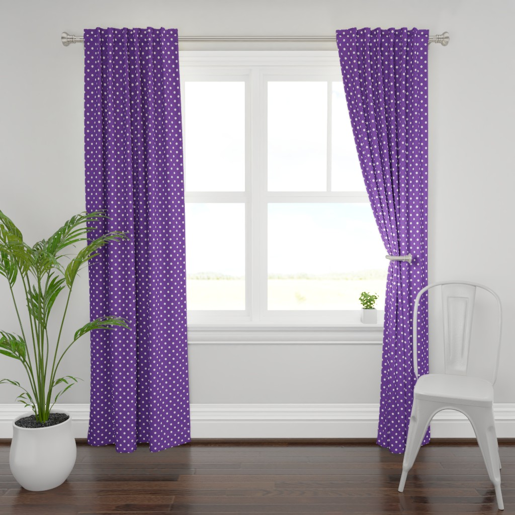 Plymouth Curtain Panel featuring White Polkadots on Ultra Violet Purple Polkadots  by paper_and_frill