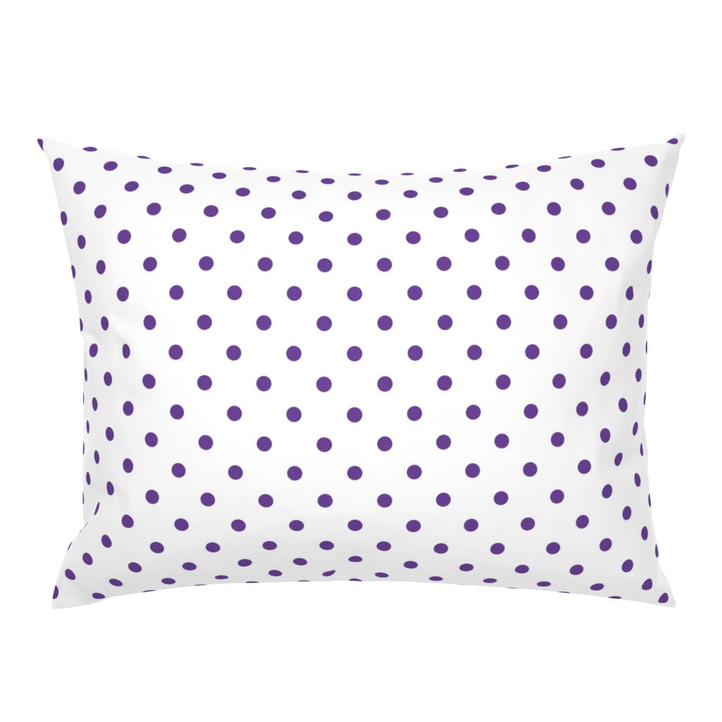 Campine Pillow Sham featuring Ultra Violet Purple Polkadots on White by paper_and_frill