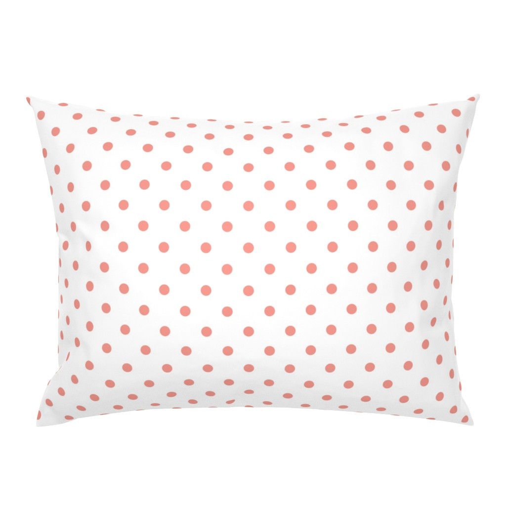 Campine Pillow Sham featuring Blooming Dahlia Peach Polkadots on White by paper_and_frill