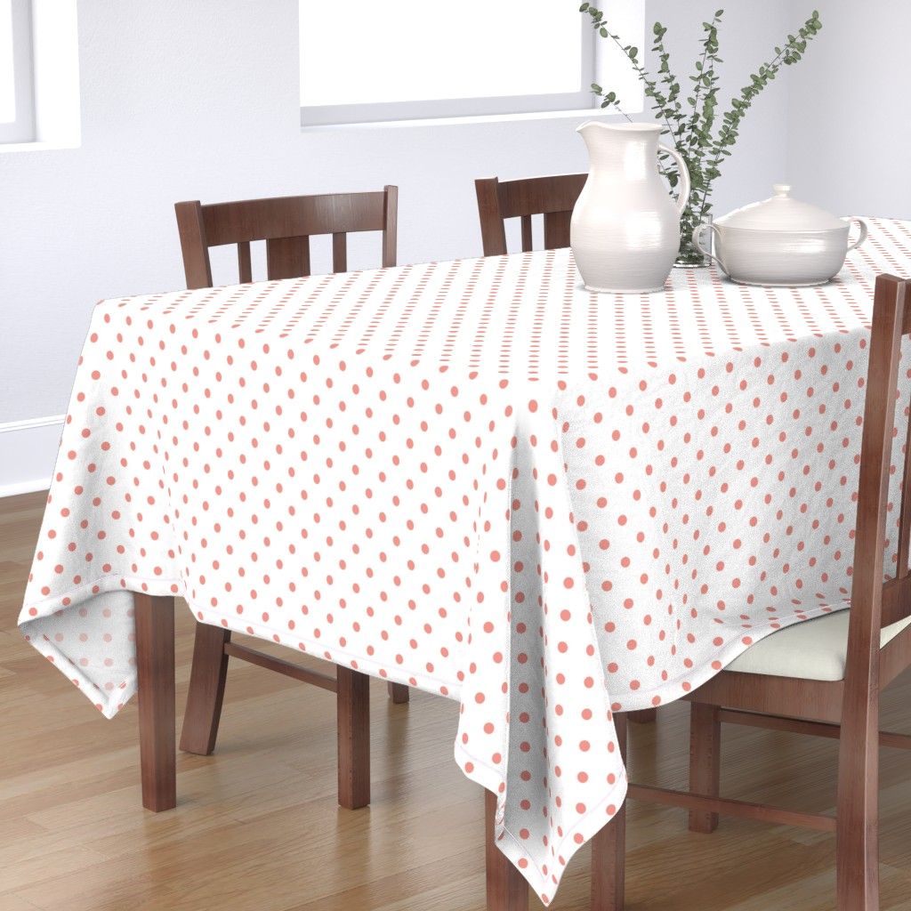 Bantam Rectangular Tablecloth featuring Blooming Dahlia Peach Polkadots on White by paper_and_frill