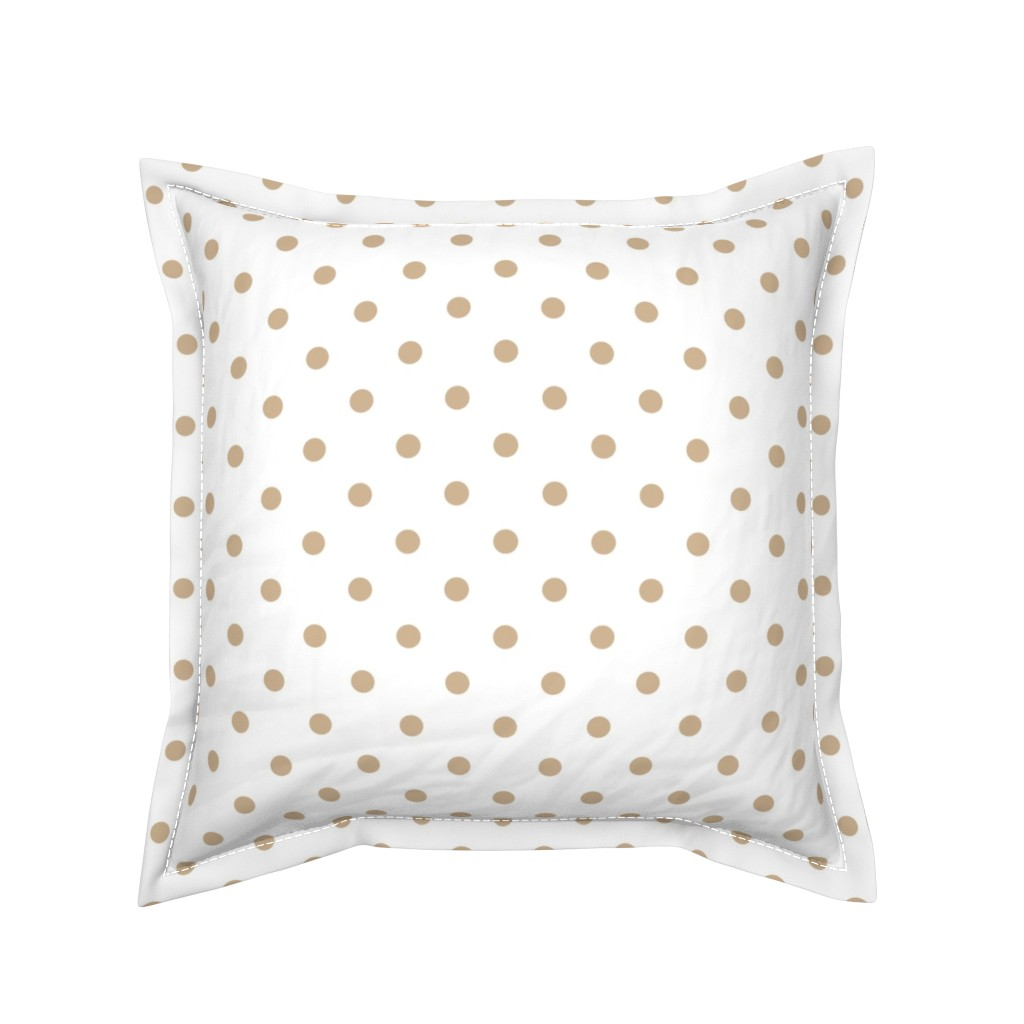 Serama Throw Pillow featuring Warm Sand Polkadots on White by paper_and_frill