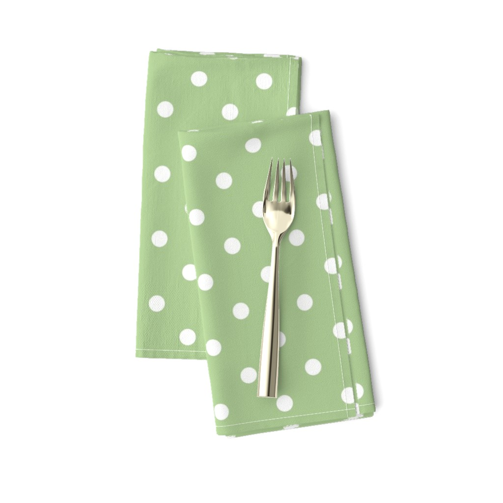 Amarela Dinner Napkins featuring White Polkadots on Nile Green by paper_and_frill
