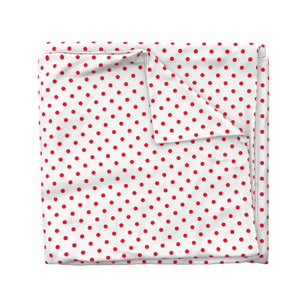 Wyandotte Duvet Cover featuring Cherry Red Polkadots on White by paper_and_frill