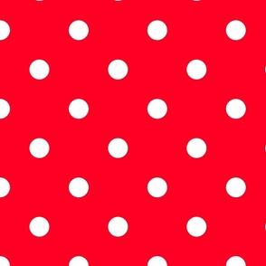 White Polkadots on Cherry Red