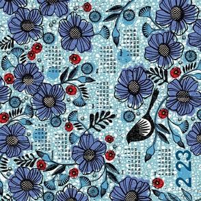 2021 Blue blooms and black bird tea towel calendar